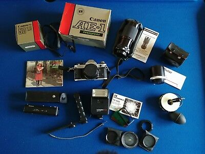 Canon AE1 Program SLR 35mm Camera + box manual lenses flash filters motordrive
