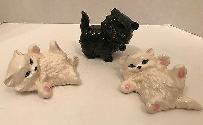 Vintage set Of 3 Ceramic  fluffy white and one black Persian  cats kittens