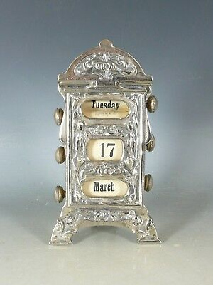 Antique Art Nouveau Perpetual Desk Calendar L19Thc