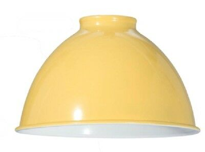 """7 1/16"""" ~ INDUSTRIAL STYLE ~ Metal Dome Pendant Porcelain Lamp Shade~ YELLOW"""