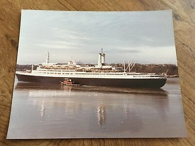 "Great Vintage Photograph Ss Rotterdam Port View 8"" X 10"" Color Holland America"