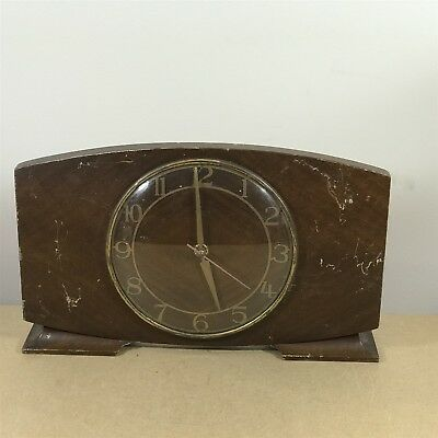 Vintage Smiths Sectric Mantel Shelf Clock . Wooden Body . Spares / Repairs