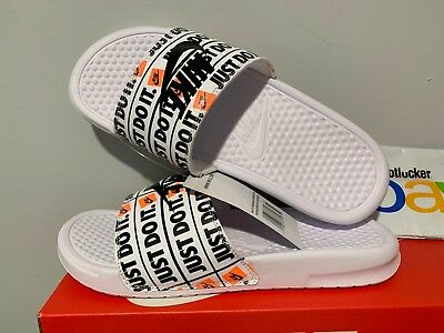 b420b6b0df1a Nike Benassi JDI Just Do It Print Slides White Black Slide 631261-102 Size 7