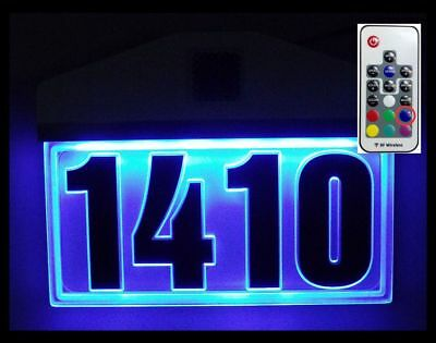 EDGE-LIT RGB LED Lighted Acrylic Address Sign Illuminated Address House  Number