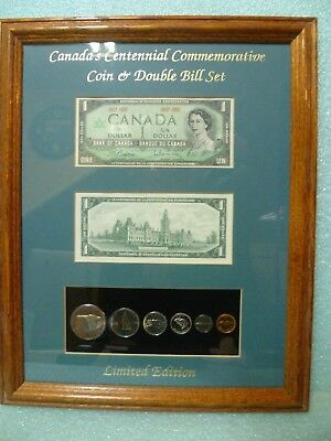 1967 CANADA'S CENTENNIAL COMMEMORATIVE Uncirculated COIN DOUBLE BILL FRAMED SET