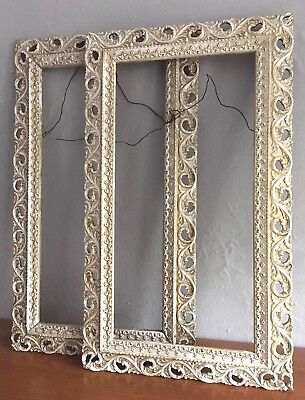 Antique Victorian Ornate White Gilt Gold Gesso Wood Picture Frame Pair 17x8 1/2