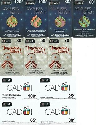 11 cartes cadeau gift card ILLICADO (NON UTILISABLE) TTB