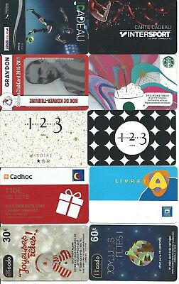 10 cartes cadeau gift card Intersport foot Giroud 123 Cadhoc (INUTILISABLE) TTB
