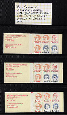 """Canada — 3 Booklets Pane of 6 — Premiers & Q.E II #586a (BK74..) """"Varieties"""" MNH"""