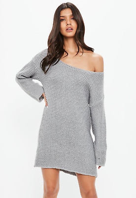 Missguided Size Small 8 10 Grey Chunky Oversized knitted Jumper Dress 201820332