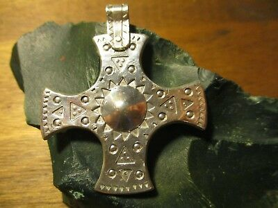 Sterling Christian Cross Anglo Saxon Medieval Viking Style 925 Silver Amulet