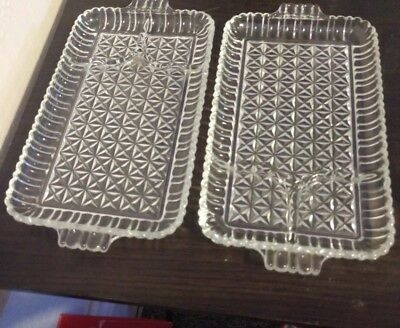 Lot of 2 Star Cut Glass Divided Relish Tray Serving Dish Platter With Handles
