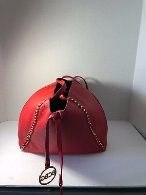 6787ee1881 NWOT BCBG Large RED Tote Purse Bag Gold Hardware Chain Double Handle  99