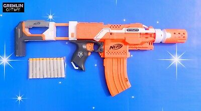 Nerf N-Strike Elite Stryfe with Bannana mag, Stock and Barrel Extension
