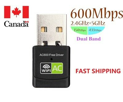 Dual Band 5Ghz/2.4Ghz 600Mbps USB WIFI Adapter for Desktop/Laptop