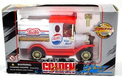 Pepsi Cola Tanker Truck Coin Bank Die Cast 1:24 White Golden Wheels & Key