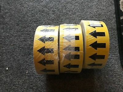 """3 rolls NEW Pipe Banding & Directional Flow Tape 2"""" Yellow w/ White Arrows"""