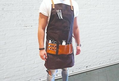 BARBER PRO Barber Apron Cape Gown Waxed Canvas DARK CHARCOAL