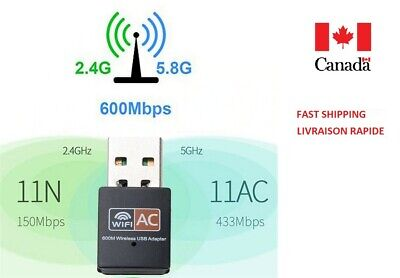 USB WIFI Adapter Dual Band 2.4+5.8Ghz 600Mbps for Desktop/Laptop