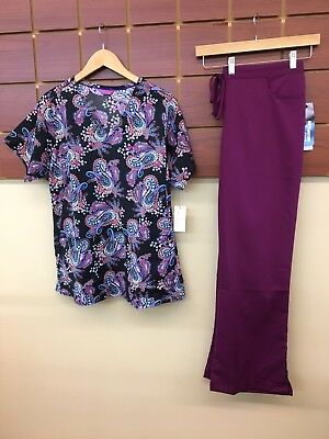 NEW Wine Print Scrubs Set With Large Top & Grey's Anatomy Large Pants NWT
