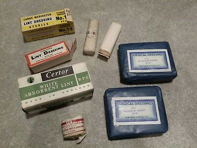 Vintage Collectible Medical Supplies Dressings Bandages Stage Display