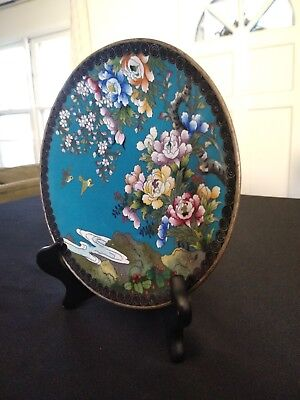 Antique Japanese Cloisonne Plate w/ Flowering Tree at Streams Edge with Birds