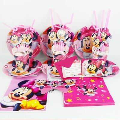 92pcs Minnie Mouse Kids Happy Birthday Party Decoration Plate Cup Straw Napkins