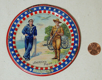 Antique Tin WWI Patriotic TIP TRAY America's Pride C.D Kenny Military Army Navy