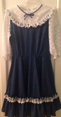 Vintage Partners Please Malco Modes Square Dancing Dress Navy PolkaDot Clogging