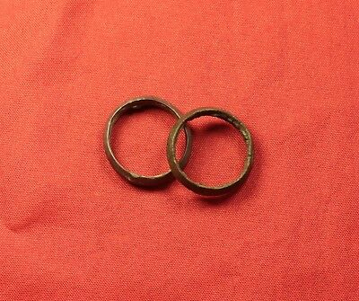 Ancient Celtic Bronze Finger Ring Pair
