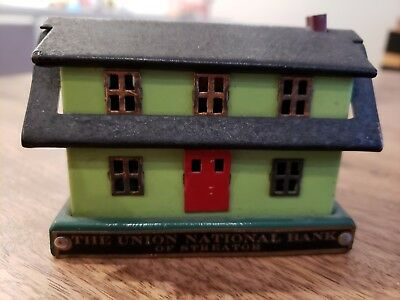 VTG 1930s Bankers Thrift Corp Chicago Save For A Home Steel Miniature House Bank