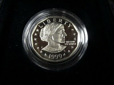 1999-P (PROOF) Susan B. Anthony Dollar-Very Nice-Box & COA