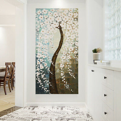 Hand Painted Modern Abstract Flower Tree Oil Painting Stretched Canvas Framed
