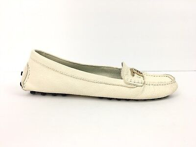 4320721dd514 Tory Burch Womens Kendrick Driving Shoe Flats Ivory 10M Leather Loafer  Moccasin