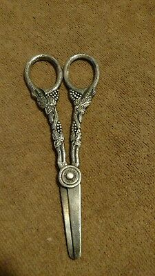 Antique/ Vintage Prima Plate Sweden Scissors - grape & vine pattern