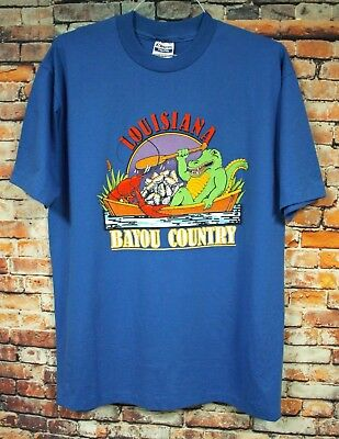 Vtg 80s LOUISIANA BAYOU COUNTRY T Shirt XL Blue Travel Gator Lobster MINT!