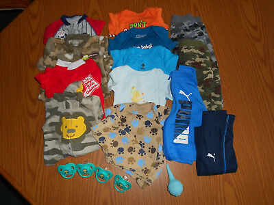 Lot of 19 Newborn Boy's 0-3 Months Clothes~Sleep&Play~Pants~Bodysuits~Pacifiers