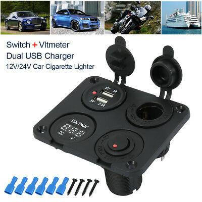 12V-24V Car Boat Cigarette Lighter Socket Splitter 2 USB Charger Voltmeter 4 Way