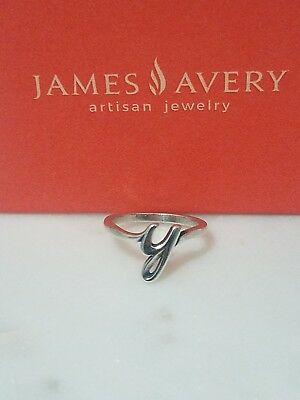 james avery sterling silver script initial y ring size 75