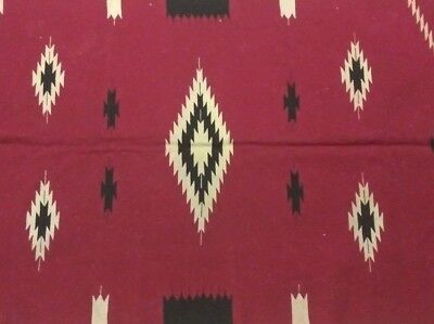 VINTAGE 20s RED CHIMAYO Native RUG Style INDIAN Blanket WOVEN OLD Antique 76x37