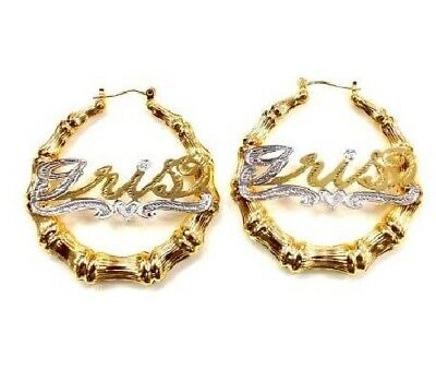 99d75fb09 baby 14K Gold Overlay Personalized Name Bamboo hoop Earrings 1 inches  twotone