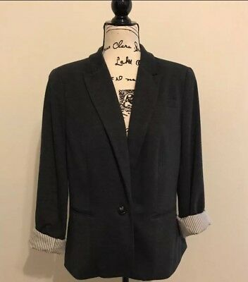 JCP Gray Blazer Jacket Casual Roll Up Sleeves