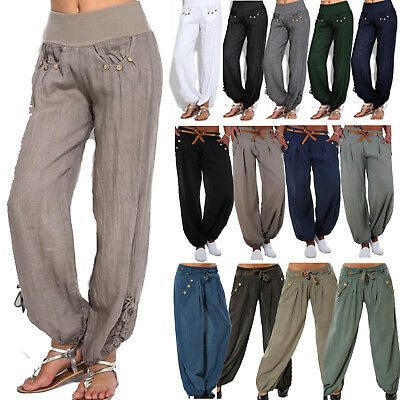 Womens Baggy Linen Cotton Leisure Harem Pants Gypsy Bloomers Yoga Loose Trousers