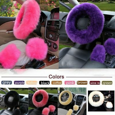 3Pcs Warm Soft Plush Wool Steering Wheel Cover Furry Fluffy Car Accessory Set