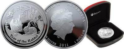 2011 YEAR OF THE RABBIT 1oz Silver Proof Coin Perth Mint