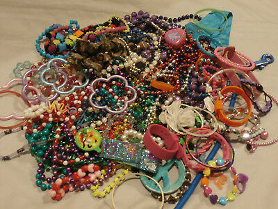 Huge 2 Lb Lot Childrens Girls Dress Up And Play Jewelry Colorful Assortment