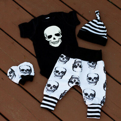 Cool Newborn Infant Baby Boy Skull Tops Romper+Long Pants Hat 3pcs Outfits Set
