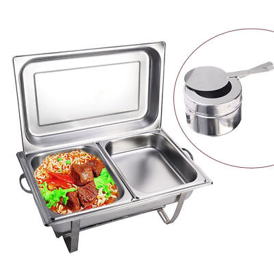 2 X 4.5L Stainless Steel Chafing Dish Buffet Stoves Caterers Food Warmer Tray