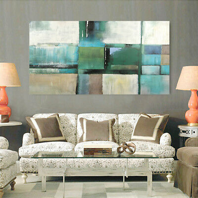 Modern Abstract Hand Draw Art Canvas Oil Painting Home Decor Framed Color Block