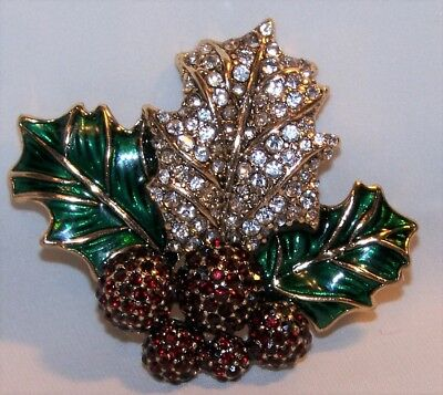 Dana Buchman Holly Leaf Berries Christmas Pin Brooch-Rhinestones Enamel-New